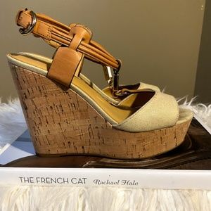 Coach Beige and Brown Leather Wedges